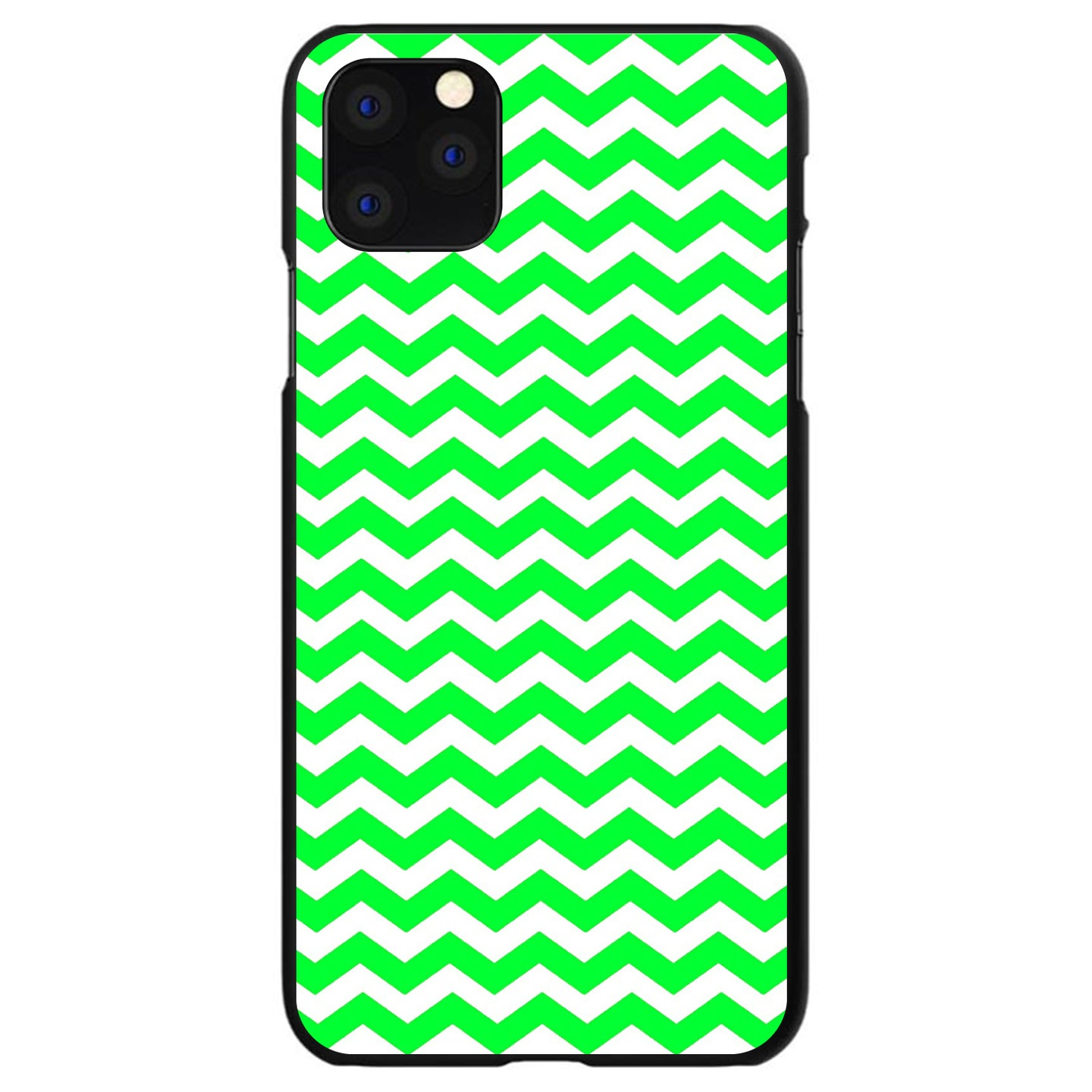 DistinctInk® Hard Plastic Snap-On Case for Apple iPhone - Green White Chevron Stripes Wave