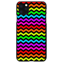 DistinctInk® Hard Plastic Snap-On Case for Apple iPhone - Rainbow Black Chevron Stripes Wave