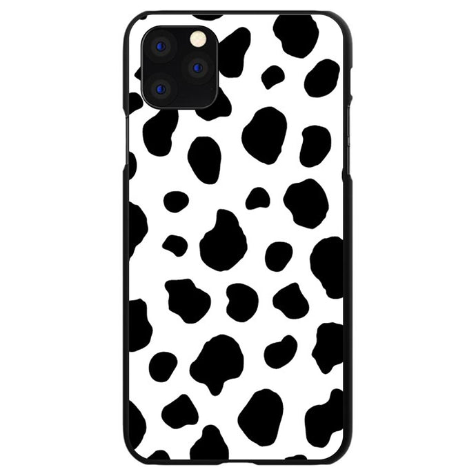 DistinctInk® Hard Plastic Snap-On Case for Apple iPhone - Black White Cow Dalmatian Spots