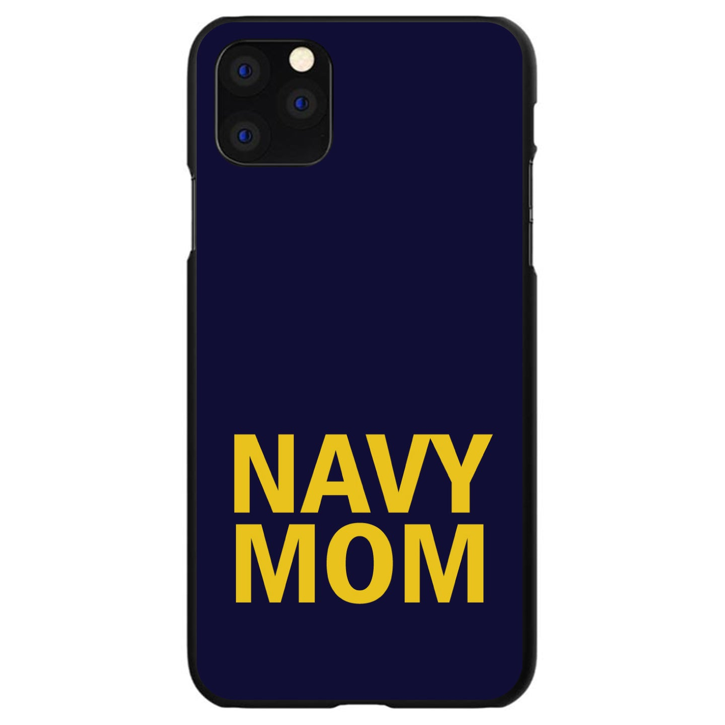 DistinctInk® Hard Plastic Snap-On Case for Apple iPhone - Yellow Navy Mom