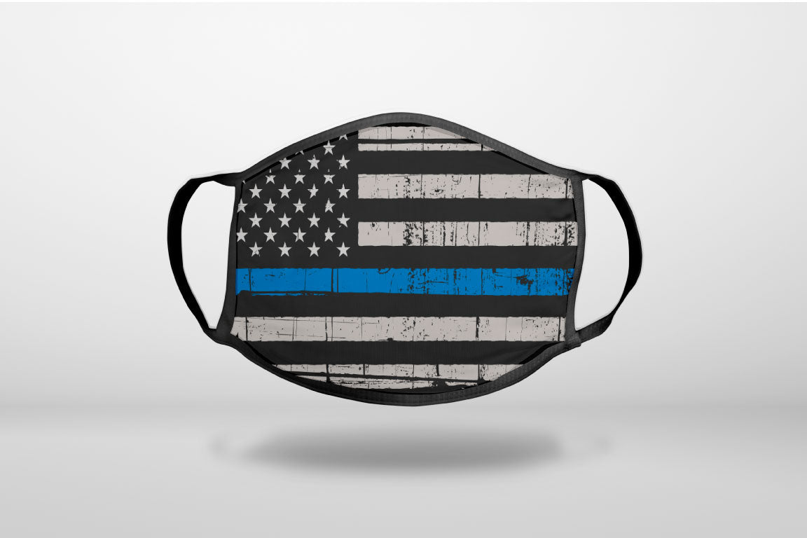 Weathered Thin Blue Line US Flag - 3-Ply Reusable Soft Face Mask Covering, Unisex, Cotton Inner Layer