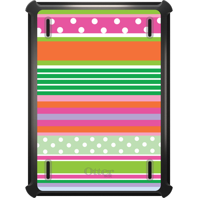 DistinctInk™ OtterBox Defender Series Case for Apple iPad - Green Pink White Stripes Polka Dots