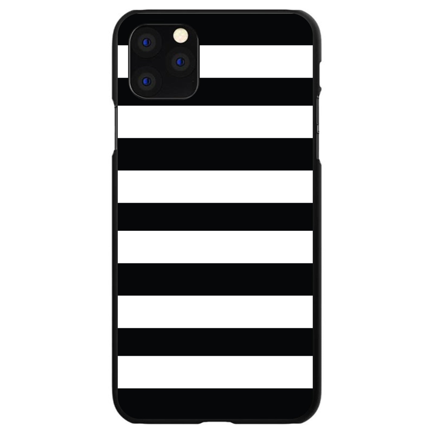 DistinctInk® Hard Plastic Snap-On Case for Apple iPhone - Black & White Bold Stripes