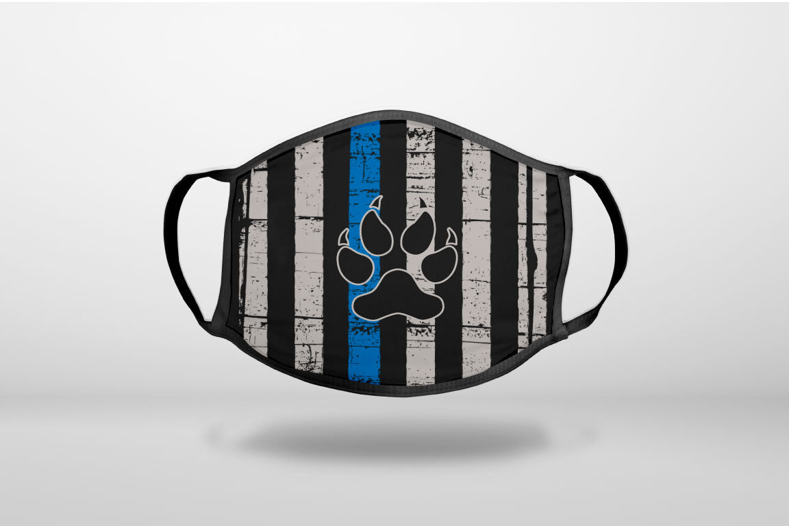 Thin Blue Line US Flag K9 Dog Paw - 3-Ply Reusable Soft Face Mask Covering, Unisex, Cotton Inner Layer