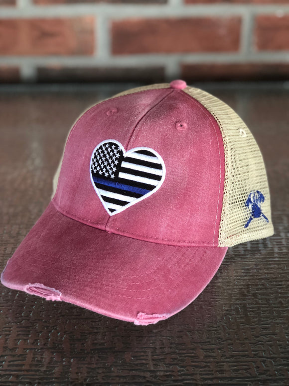 Thin Blue Line Heart Distressed Trucker