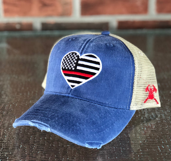 Thin Red Line Heart Distressed Trucker