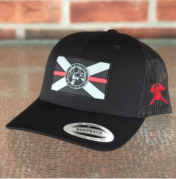 Subdued PVC Thin Red Line Florida Flag Hat