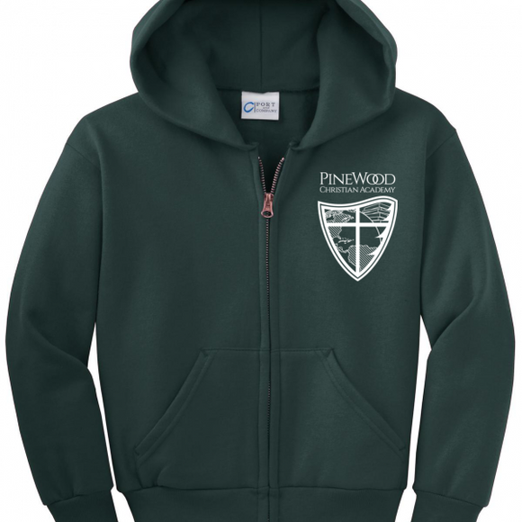 Pinewood Christian Academy Youth Full Zip Hoodie