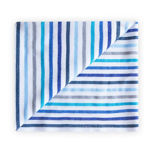 blue, grey and white large beach towel above