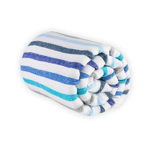 blue, grey and white large beach blanket perfil
