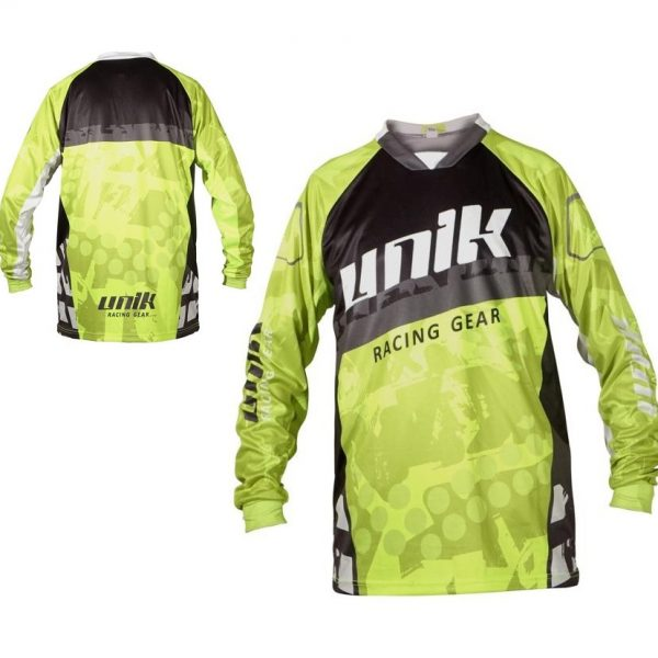 TRICOU CROSS-ENDURO UNIK RACING MODEL MX01 NEGRU/VERDE FLUOR