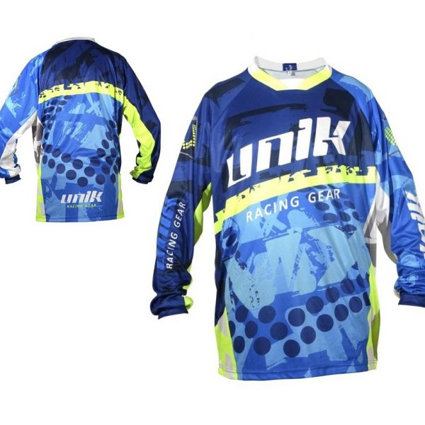 TRICOU CROSS-ENDURO UNIK RACING MODEL MX01 ALBASTRU/VERDE FLUOR