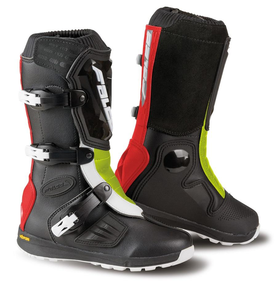 Cizme mx/enduro copii Falco Lion Kid 2.1, Vibram, D3O®, Black/Red/Fluo