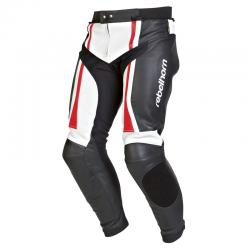 Pantaloni de piele Rebelhorn Piston II, Black/White/Fluo Red