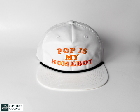 Pop Is My Homeboy White Grandpa Pinch Hat - Orange Edition