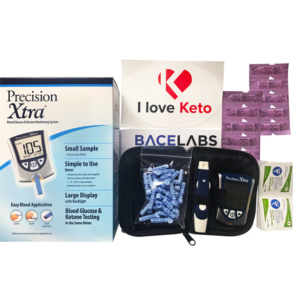 Precision Xtra Blood Glucose and Ketone Monitoring Meter Kit Bundle+10 Precision Xtra Ketone Test Strips+One Month Abbott Freestyle 28 Gauge Lancets and dynarex Alcohol Wipes+I Love Keto Sticker