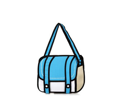 3D Drawing Cartoon Messenger Handbag
