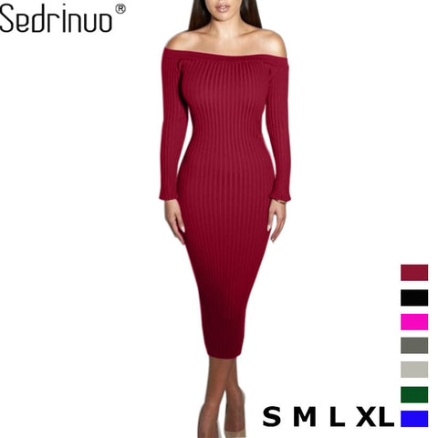 Off Shoulder Sexy Bodycon Knitted Sweater