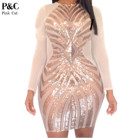 Stop them in their tracks Rose Gold Geometric Sequin Bodycon Dress