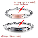 Couples Stainless Steel His Beauty Her beast Engravable Bracelet's