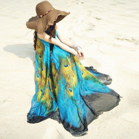 Maxi Boho Chiffon Beach  Dress