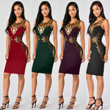 Lace large Appliques Dress Smaller waist Illusion Dress