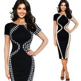Patchwork O-Neck Bodycon Dress