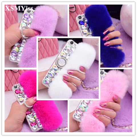 Luxury Bling Rhinestone Faux Fur Case For Cell phone