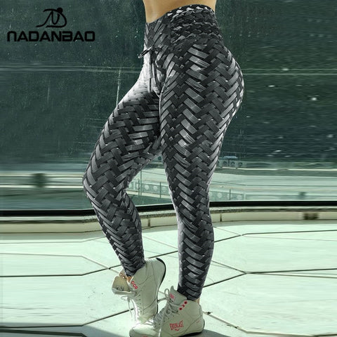 3-D High Waisted  Armor Weave Printed Leggings S-3X