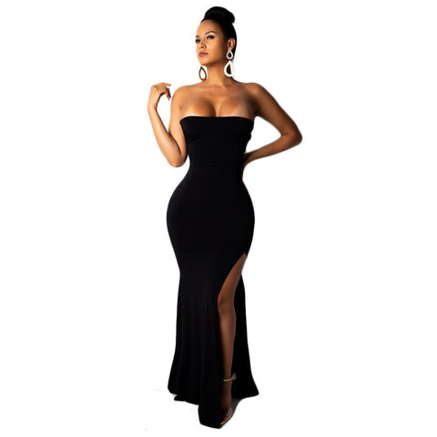Strapless Lace Up Open Back Sexy Side Split Long Maxi Mermaid Party Dress