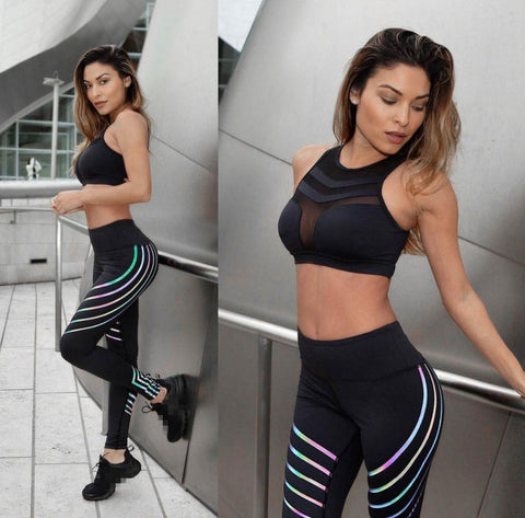 Womens Stripe Design Fashion Leggings 2- XXXL