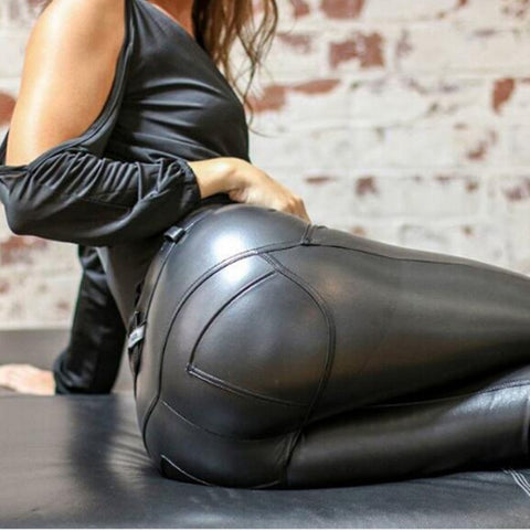 Black Faux Leather Leggings S-5X