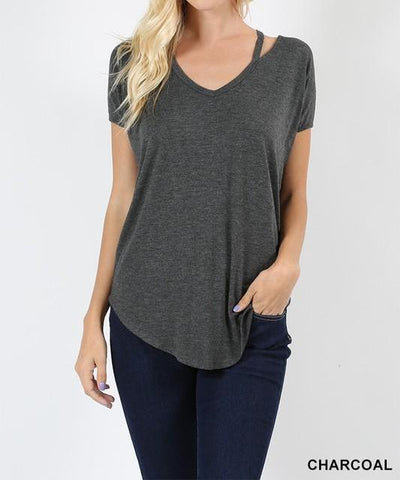 Dolman Cut Out Tee, Charcoal