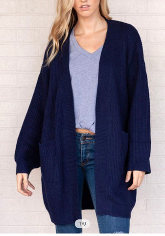 Chunky Oversized Cardigan-Midnight Blue