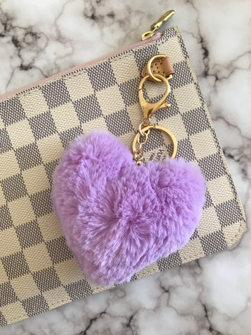 Puffy Heart Faux Fur Purse Charm, Lilac