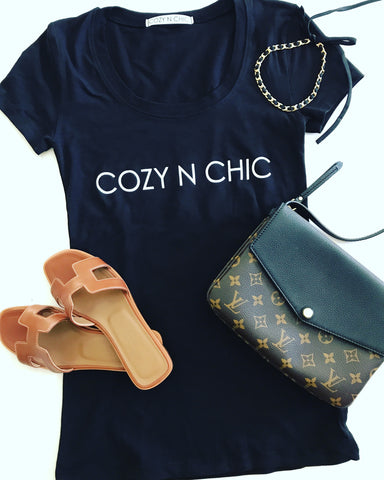 COZY N CHIC, Ladies Fitted Scoop Neck Tee