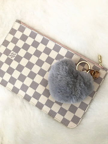 Puffy Heart Faux Fur Purse Charm, Gray