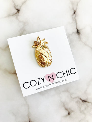 Aloha Pineapple Pin, Gold