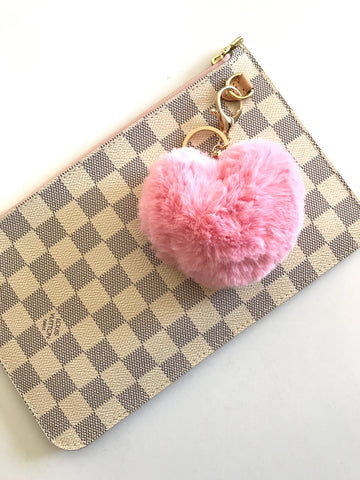 Puffy Heart Faux Fur Purse Charm, Cotton Candy