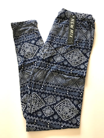 Tribal Leggings, Navy