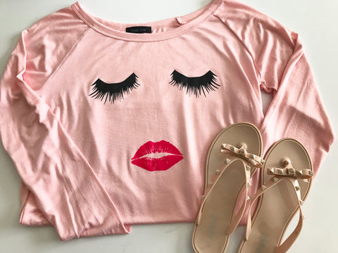 Lashes and Lips Long Sleeves, Pink