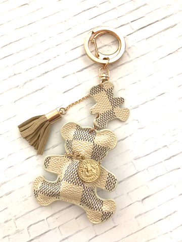 Inspired Teddy Purse Charm, White