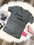 Purse Addict V-Neck Tee, Grey