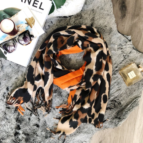 Soft and Cozy Leopard and Orange Blanket Scarf