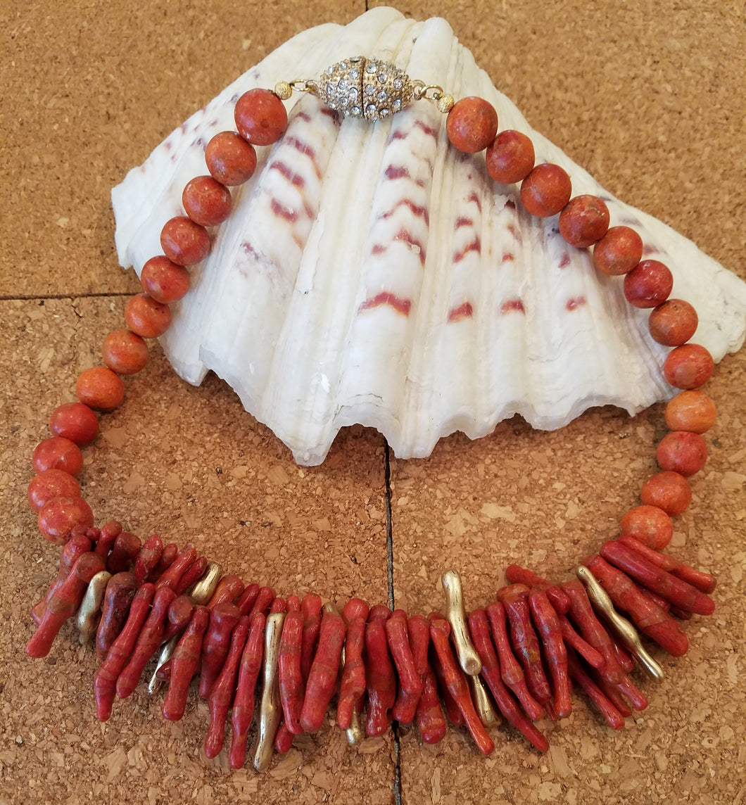 Sponge Coral Necklace and earrings