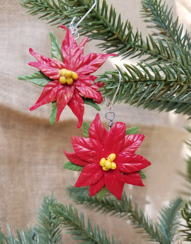Poinsettia Christmas Earrings!