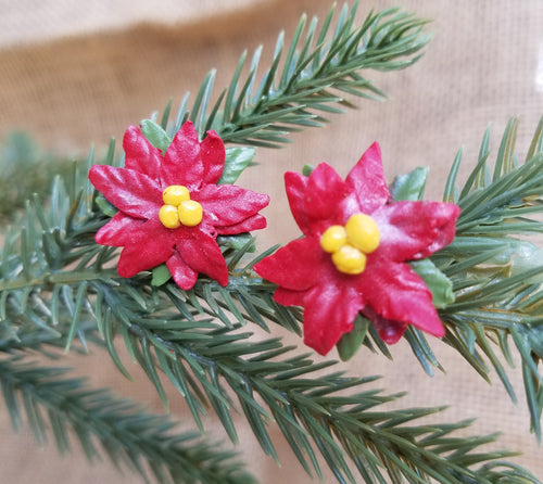 Christmas Poinsettia Earrings, smaller size...