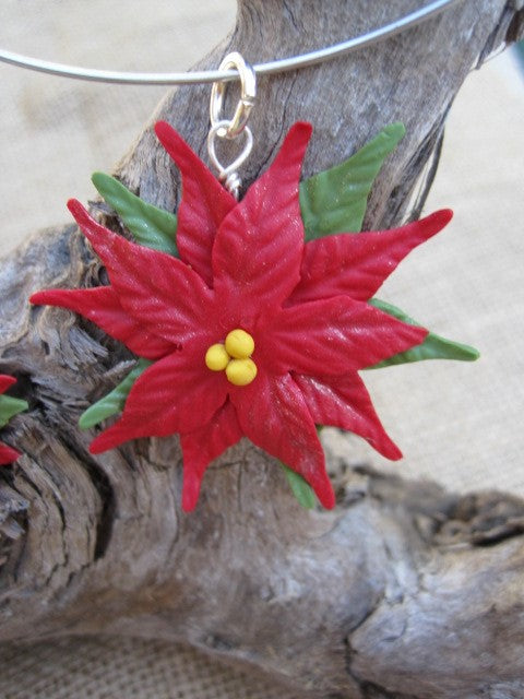 Poinsettia Christmas Necklace