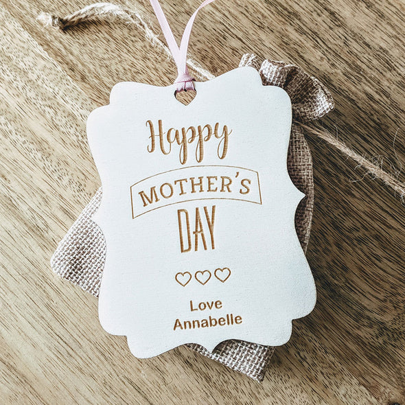 Personalised Wooden Happy Mother's Day Gift Tag - Hearts