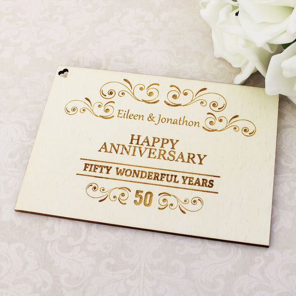 Personalised Wooden Wonderful Years Happy Anniversary Postcard